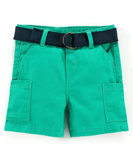 Babyoye Cotton Solid Shorts with Belt - Green
