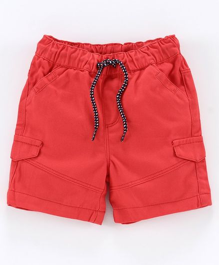 Babyoye Cotton Solid Shorts with Drawstring - Red