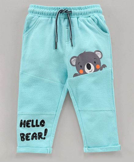 Babyoye Cotton Full Length Lounge Pant Bear Print - Blue