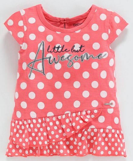 Babyoye Cotton Lycra Cap Sleeves Tee Awesome & Polka Dot Print - Pink