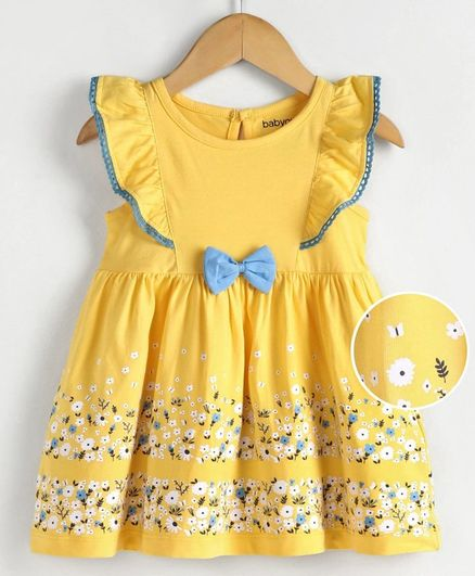 Babyoye Short Sleeves Cotton Lycra Frock Floral Print - Yellow