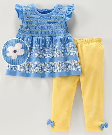 Babyoye Cotton Flutter Sleeves Top Legging Floral Print - Blue Yellow