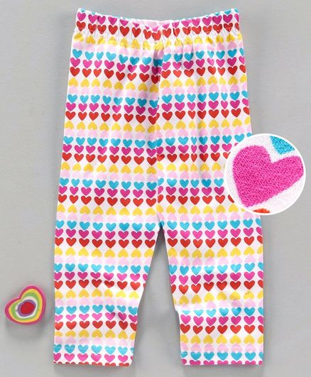 Babyhug Full Length Leggings Heart Print - White Pink