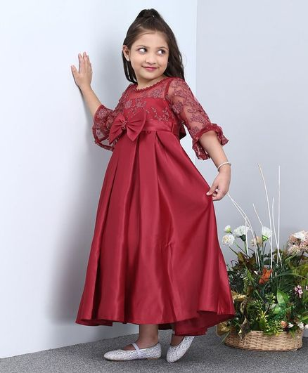 Mark & Mia Three Fourth Sleeves Dress Floral Embroidery - Maroon