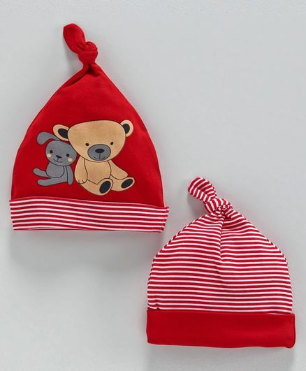 Babyhug 100% Cotton Printed & Striped Cap Pack of 2 - Red