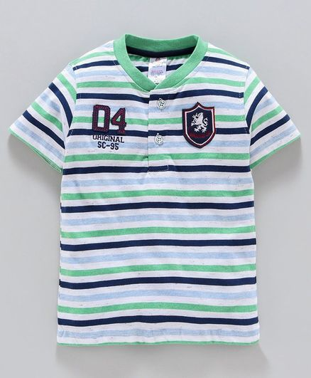 Smarty Half Sleeves Striped T-Shirt Number Patch - Green