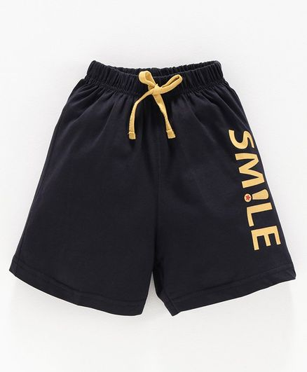 Doreme Shorts with Drawstring Text Print - Navy Blue