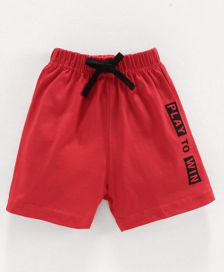 Doreme Shorts Text Print - Red