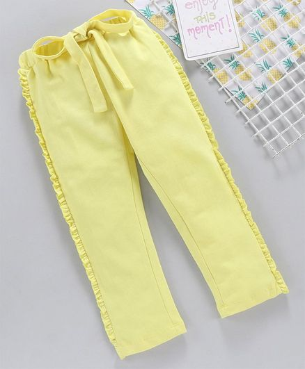Babyhug Full Length Frilled Track Pant - Yellow