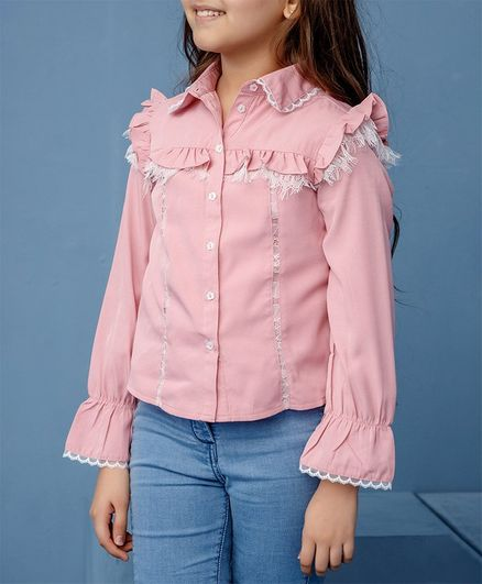 One Friday Full Sleeves Ruffle Detail Button Down Top - Pink