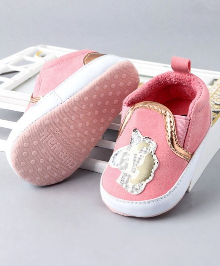 Cute Walk by Babyhug Booties With Patch Work - Pink
