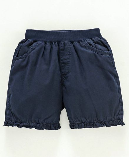 Spicy Kids Knee Length Cotton Twill Shorts - Navy Blue