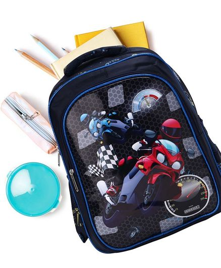 School Bag Bike Print Black - 15 Inches