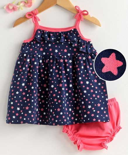 Babyhug Singlet Frock with Bloomer Star Print - Navy Blue Pink