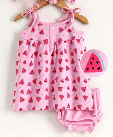Babyhug Sleeveless Frock with Bloomer Watermelon Print - Pink