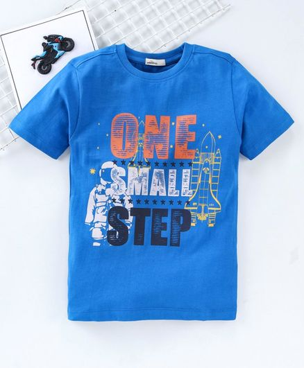 Adams Kids One Small Step Printed Half Sleeves T-Shirt - Blue