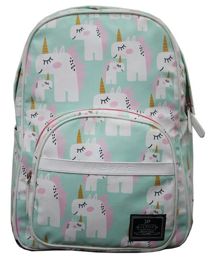 Kaypac School Bag Unicorn Print Green - 13.38 Inches