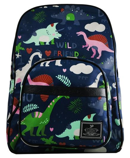 Kaypac School Bag Dinosaur Print Navy Blue - 13.38 Inches