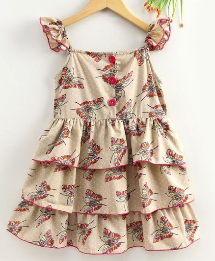 M'andy Butterfly Printed Sleeveless Layered Dress  - Beige