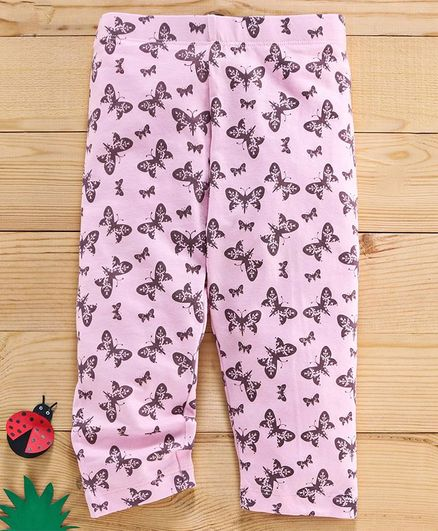 Adams Kids Full Length Butterflies Print Leggings - Pink