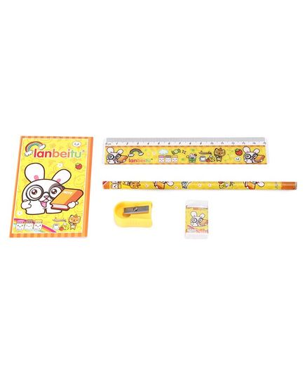Stationery Set Bunny Print Yellow - Pack of 5 Pieces
