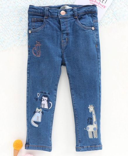 ToffyHouse Full Length Jeans Animal Embroidery-  Blue
