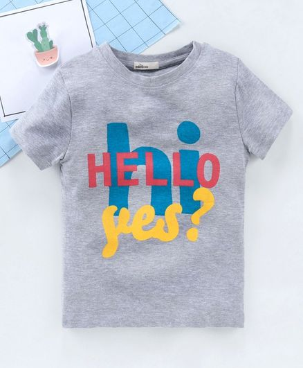 Adams Kids Half Sleeves Hello Print Tee - Grey