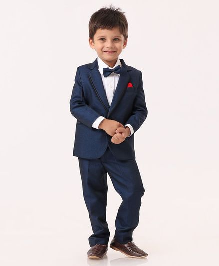 Babyhug Babyhug 3 Piece Party Suit With Bow Tie - Blue