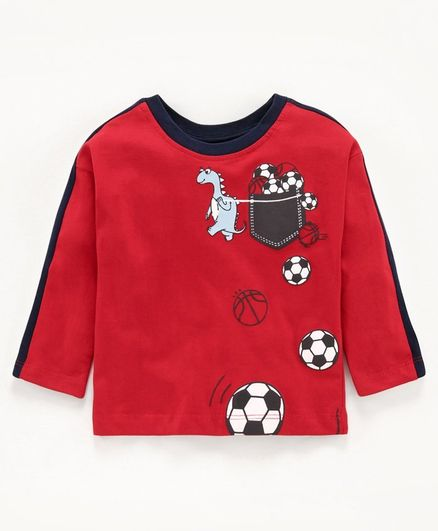Babyoye Cotton Full Sleeves Tee Football Print - Red