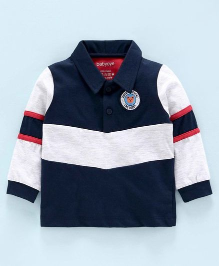 Babyoye Cotton Full Sleeves Striped T-Shirt Handsome Badge - Navy Blue