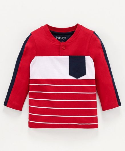 Babyoye Cotton Henley Full Sleeves Tee - Red