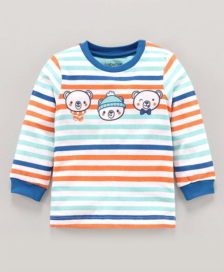 Babyoye Full Sleeves Cotton Striped Tee Bear Print - Blue White