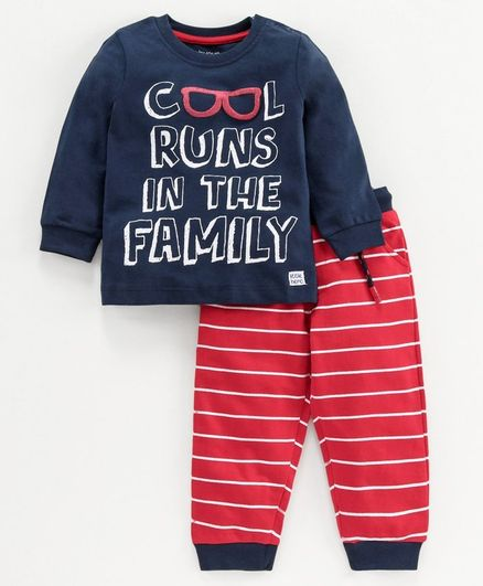 Babyoye Full Sleeves Cotton Tee & Lounge Pant Text Print - Red Navy