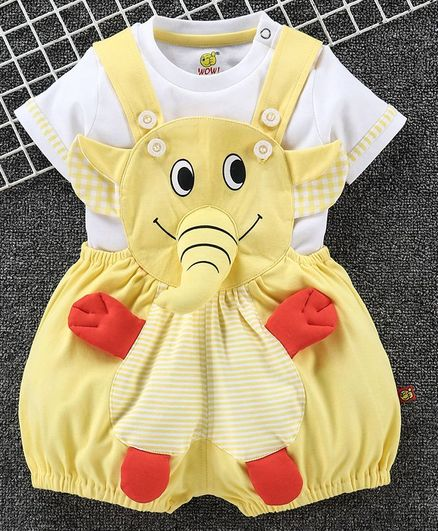 Wow Clothes Dungaree With Half Sleeves T-Shirt Elephant Design - Gold Yellow White