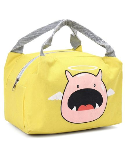 Insulated Lunch Box Bag with Pig Print - Yellow