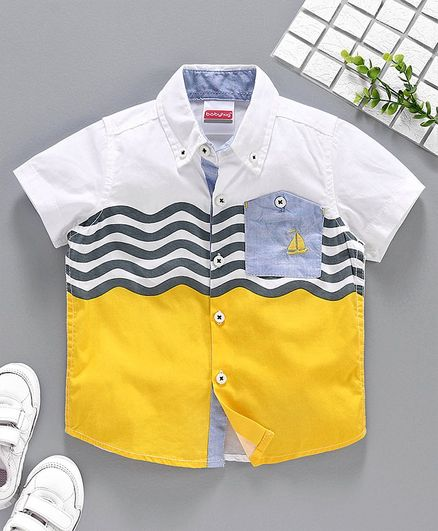 Babyhug Half Sleeves Poplin Shirt Boat Embroidered - Yellow White