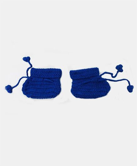 Knitting By Love Solid Booties - Blue