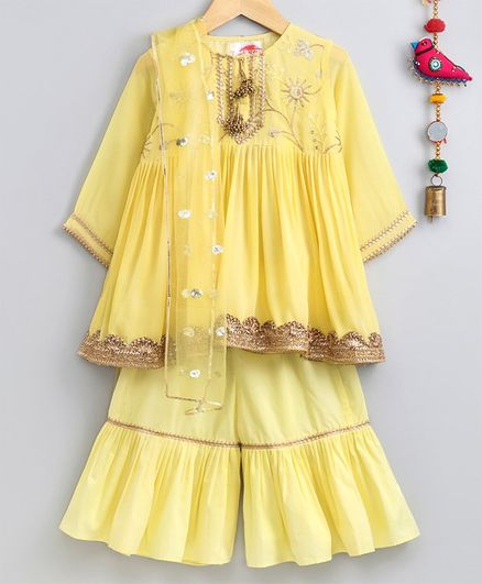Little Bansi Three Fourth Sleeves Gotta Patti Work Kurta & Sharara With Dupatta - Yellow