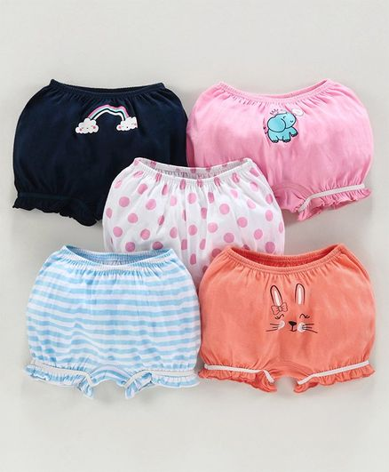 Babyoye Cotton Printed Bloomers Pack of 5 - Blue Pink Orange