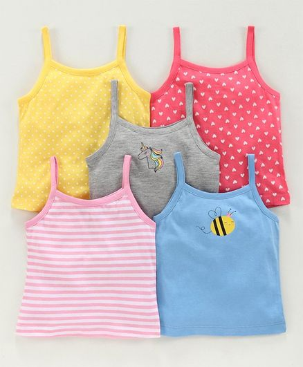 Babyoye Singlet Cotton Camisoles Printed & Striped Pack of 5 - Red Blue Grey -