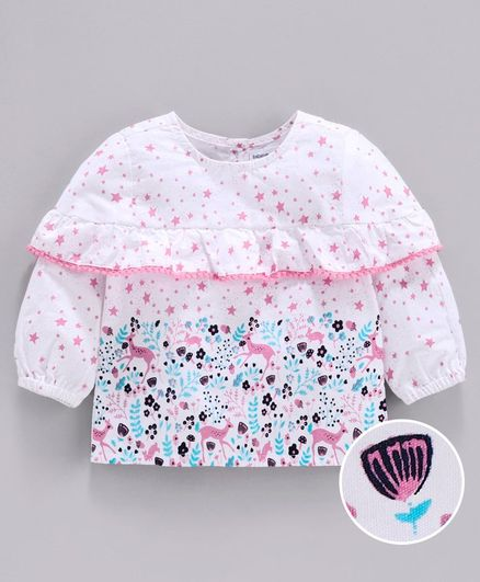 Babyoye Full Sleeves Cotton Top Deer Print - White Pink