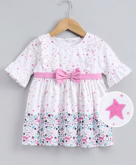 Babyoye Cotton 3/4th Sleeves Frock Star Print - Pink White