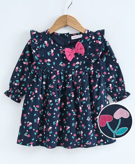 Babyoye Cotton Full Sleeves Frock Bow Applique - Navy Blue
