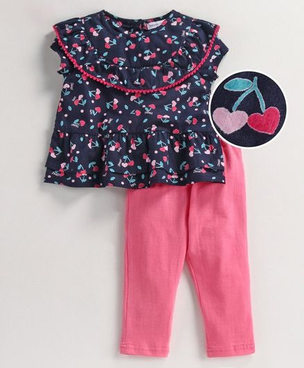 Babyoye Cotton Cap Sleeves Top & Leggings Heart Print - Pink Navy