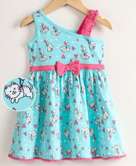 Babyoye Pom Pom Lace Sleeveless Frock Kitty Print - Blue