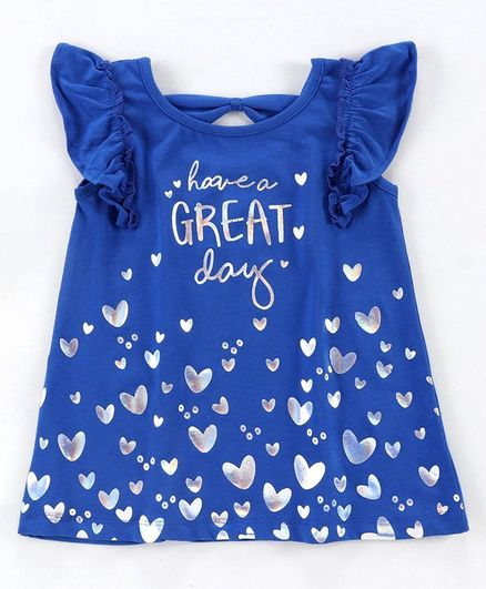 Babyoye Cotton Flutter Sleeves Top Heart Print - Blue