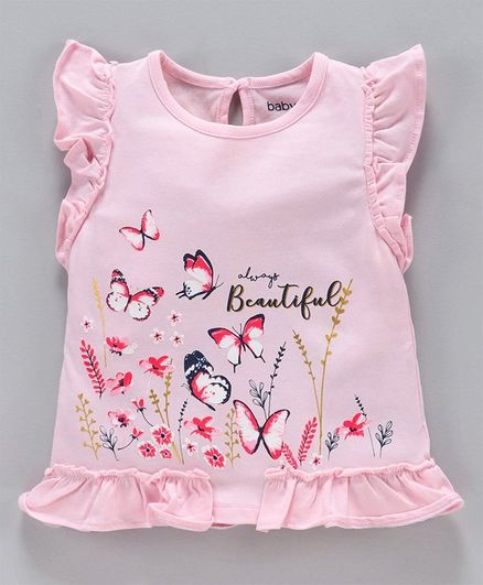 Babyoye Cotton Flutter Sleeves Top Butterfly Print - Pink