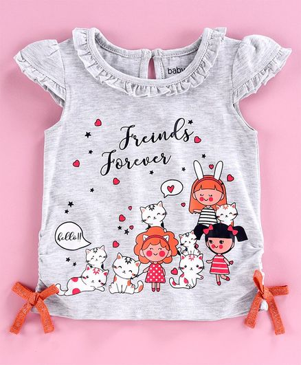Babyoye Cotton Cap Sleeves Top Friends Forever Print - Grey