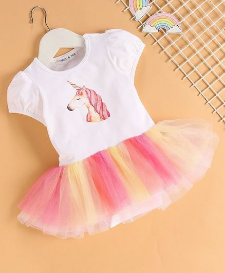 Mark & Mia Short Sleeves Frock Style Onesie Unicorn Print - White