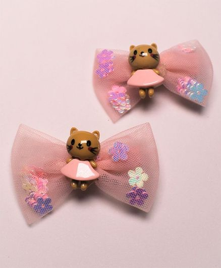 Flying Lollipop Doll Decorated Set Of 2 Hair Clip - Pink & Brown
